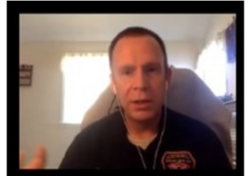 Image Description: A Pastor on Zoom screen interviewing an emergency services worker