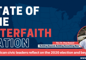 """Image of Chaz Howard on a panel with the text: """"State of the Interfaith Nation"""""""