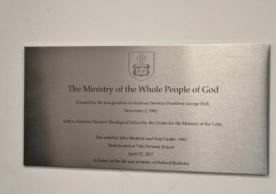 Plaque for The Ministry of the Whole People of God